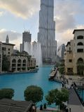 Dubai fountain. In front of Burj khalifa Royalty Free Stock Photography