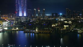 Dubai fountain modern place evening 4k time lapse stock footage