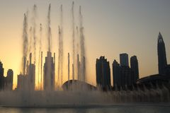 The Dubai fountain musical show water and light Royalty Free Stock Photo
