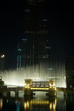 Dubai Fountain at night Stock Images