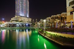 The Dubai Fountain. DUBAI - OCTOBER 15: area near the Dubai Fountain on October 15, 2014 in Dubai, UAE. The Dubai Fountain is the world's largest choreographed Stock Images