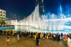 The Dubai Fountain. DUBAI - OCTOBER 15: The Dubai Fountain on October 15, 2014 in Dubai, UAE. The Dubai Fountain is the world's largest choreographed fountain Royalty Free Stock Image