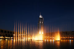 The Dubai Fountain performs and dances to the beat of the music Royalty Free Stock Photo