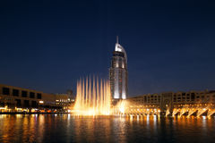 The Dubai Fountain performs and dances to the beat of the music Royalty Free Stock Image