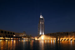 The Dubai Fountain performs and dances to the beat of the music Royalty Free Stock Images