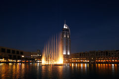The Dubai Fountain performs and dances to the beat of the music Stock Images