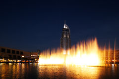 The Dubai Fountain performs and dances to the beat of the music Stock Image