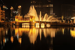 Dubai fountain. Show At Night, UAE Royalty Free Stock Photography