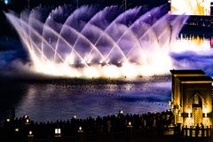 Free Dubai Fountains, Illuminated Trick Fountains At Night Stock Photo - 135286700