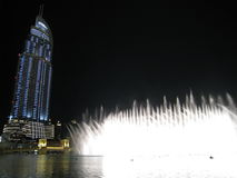 Dubai Fountains at Night Royalty Free Stock Photos