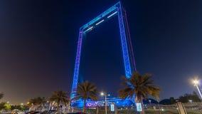 Dubai Frame building at night timelapse, new UAE attraction. Dubai Frame building at night timelapse with illumination, new UAE attraction. View from car stock footage