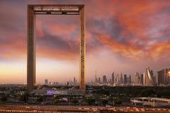 Dubai frame building at sunrise. Dubai, United Arab Emirates, January 13th, 2018: Dubai Frame building at sunrise stock photo