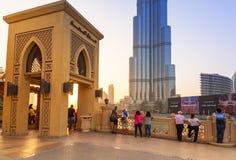 Dubai galleria på det Burj Khalifa tornet i Dubai Arkivfoton