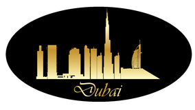 Dubai golden skyline Royalty Free Stock Images