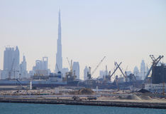 Dubai Harbor with Burj Dubai stock images