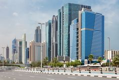 Dubai - The high buildings and viaducts of Downtown.  Royalty Free Stock Photography