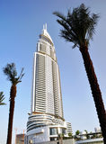 Dubai Highrise building. A prominent Dubai Hotel in close proximity to the Burj Dubai and the water fountains royalty free stock image