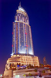 Dubai Highrise building. A prominent Dubai Hotel in close proximity to the Burj Dubai and the water fountains stock photo