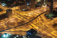 Dubai highway at night. View of Dubai highway at night from the Burj Khalifa tower Royalty Free Stock Photo