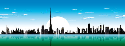 Dubai horisont royaltyfri illustrationer