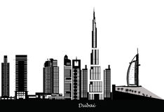 dubai horisont stock illustrationer