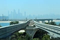 Dubai horisont som sett från Atlantis Arkivfoto