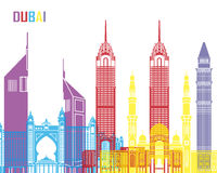 Dubai horisontpop stock illustrationer