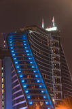 Dubai Hotel. A night shot of the Jumeirah Beach Hotel illuminated in the dark Stock Images