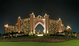 Dubai Hotel Panorama. The famous Atlantis Hotel in Dubai at night royalty free stock photos