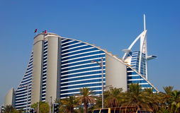Dubai Hotels. Two prominent Dubai Hotels against a blue sky Stock Images