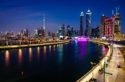 Dubai i stadens centrum horisont Royaltyfria Foton