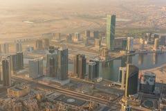 Dubai i stadens centrum morgonplats Arkivfoto