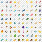 100 dubai icons set, isometric 3d style Royalty Free Stock Images