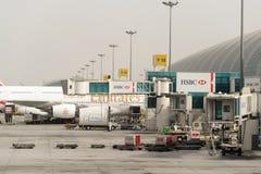 Dubai International Airport. DUBAI, UAE - MARCH 10, 2015: Dubai International Airport. It is an international airport serving Dubai and a major airline hub in Stock Image