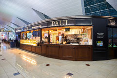 Dubai International Airport. DUBAI, UAE - NOVEMBER 16, 2015: interior of Paul cafe. Paul is a French chain of bakery/cafe restaurants established in 1889 in the Stock Photography