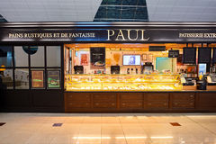 Dubai International Airport. DUBAI, UAE - NOVEMBER 16, 2015: interior of Paul cafe. Paul is a French chain of bakery/cafe restaurants established in 1889 in the Stock Image