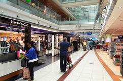 Dubai International Airport. View of duty free in Dubai International Airport on June 20, 2014 in Dubai, UAE. This airport is the biggest in Middle East region stock image