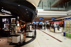 Dubai International Airport. View of duty free in Dubai International Airport on June 20, 2014 in Dubai, UAE. This airport is the biggest in Middle East region stock photography