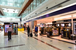 Dubai International Airport. View of duty free in Dubai International Airport on June 20, 2014 in Dubai, UAE. This airport is the biggest in Middle East region royalty free stock photo
