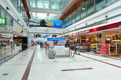 Dubai International Airport. View of duty free in Dubai International Airport on June 20, 2014 in Dubai, UAE. This airport is the biggest in Middle East region royalty free stock image