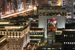 Dubai International Financial Centre (DIFC). Nightview of Dubai International Financial Centre (DIFC)s iconic gate building along Sheikh Zayed Road in Dubai, UAE Stock Images