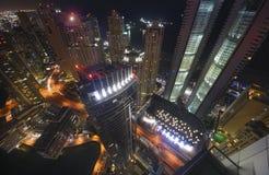 Dubai-Jachthafen nachts Stockfotos