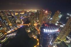 Dubai-Jachthafen nachts Lizenzfreie Stockbilder