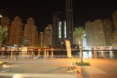 Dubai-Jachthafen nachts Lizenzfreie Stockfotos