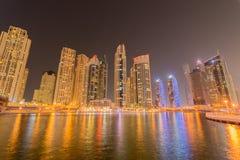 Dubai - JANUARI 10, 2015: Marinaområde på Fotografering för Bildbyråer