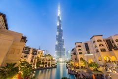Dubai - JANUARY 9, 2015: Burj Khalifa building on. January 9 in UAE, Dubai. Burj Khalifa skyscraper is tallest in the world Stock Photos