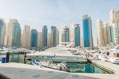 Dubai - JANUARY 10, 2015: Marina district on Royalty Free Stock Photos