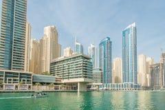 Dubai - JANUARY 10, 2015: Marina district on Royalty Free Stock Photo