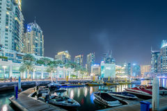 Dubai - JANUARY 10, 2015: Marina district on Royalty Free Stock Images