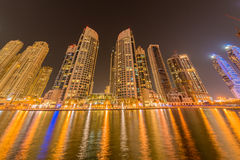 Dubai - JANUARY 10, 2015: Marina district on Royalty Free Stock Photo